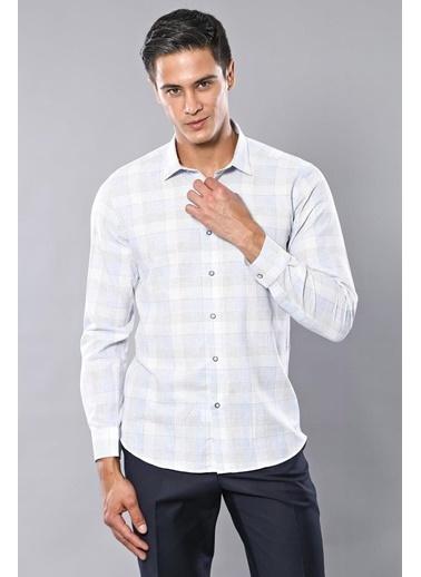 Wessi Erkek Ekose Desenli Slim Fit Gömlek Mavi